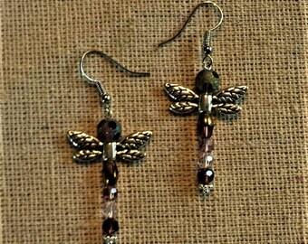 Dragonfly Crystal Earrings