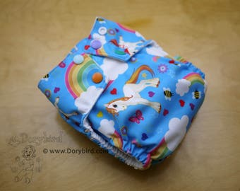 Cloth diaper - Medium (14-26 lbs.) - Unicorns and rainbows - cloth nappy - sized all in one - happy sky ponies diaper - clear blue sky bees