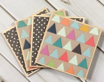 Set of Geometric Coasters, Set of Wooden Coasters, Wood Coasters, Colorful Coasters, Triangle Decor, Grey Coasters, Grey Decor, Farmhouse