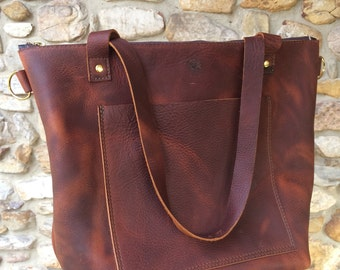 Leather Zip Top Tote with removable crossbody strap and pockets, diaper bag, diaper tote, leather handbag