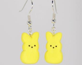 Peeps Bunny Yellow Easter Earrings - Tiny Miniature Food Jewelry