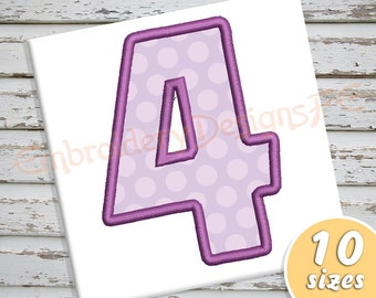 Number 4 Applique Design - 10 Sizes - Machine Embroidery Design File