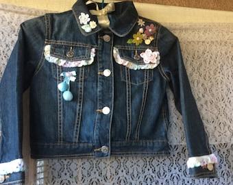 Girls Jeans Jacket-Little Bug - Upcycled GUMBOREE Sz S (5-6)