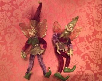 Vintage 2 Jesters Elf ornament Home decor