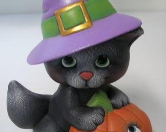 Ceramic Witch Kitty Pumpkin Halloween Decoration