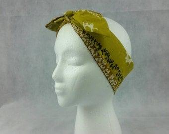 Vintage sun dance headwrap, ethnic upcycled vintage, head tie, Rosie wrap