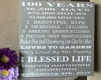 100 Year Old Birthday Gift !!!!An Amazing Wood Sign A Gift For Your Loved One .. can be customized to any age..