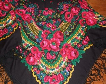 Stunning Polish Folk Art Floral Fringe Scarf/ Polish Multicolor Wool Folk Shawl/ Vintage Polish Floral Pattern Scarf/Beautiful Polish Scarf