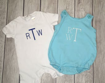 Custom Embroidered monogrammed romper/bubble. Initials or name! For boys or girls. Choose colors, fonts, and style romper!