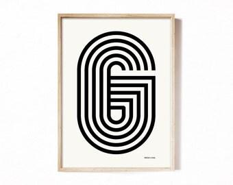 Letter G - modern typography alphabet print.