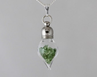 Moldavite Meteorite Space Necklace - Sterling Silver