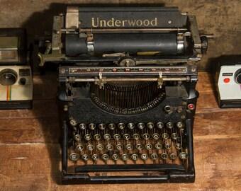 Antique UNDERWOOD Typewriter, Rare Typewriter, Industrial Decor, Art Deco, Heavy 30 lbs Steel Typewriter , Steampunk Decor Steam Punk Prop