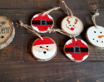 Wood Slice Ornaments, Rustic Christmas Decor, Rustic Christmas Ornaments, Ornament Set, Primitive Ornaments,  Christmas  Tree Ornaments