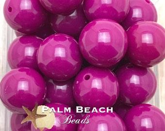 Ten (10) pc Chunky 20mm Bubblegum Acrylic Solid Beads WILDBERRY -10pcs
