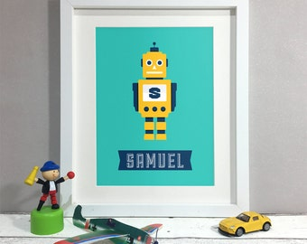 Robot Art Decor, Personalised Print, Kids Room Decor, Nursery Wall Art, Nursery Decor, Name Sign Print (Unframed)