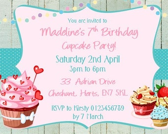 Printed Personalised Cupcake Making Party Invitations x10