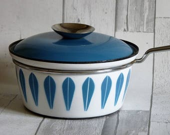 Vintage Cathrineholm Norway Blue and White Enamel Lotus Pattern Saucepan and Cover