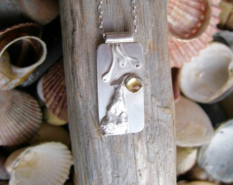 sterling silver pendant , sterling silver necklace, nature jewellery, Dorset Hill, citrine gemstone, imagined landscapes, rustic silver
