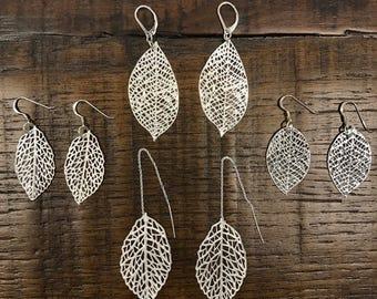 fine silver leaf earring