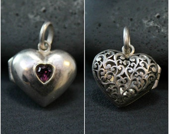 Valentine's Day Sterling Silver and Amethyst Heart Locket Pendant with Filigree Back