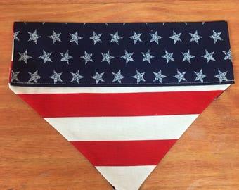 American flag bandana, dog bandana, dog scarf, dog kerchief, pet bandana, floral scarf,kerchief, snap on bandana, over the collar bandana