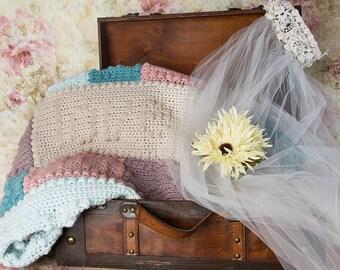 Bridal shower gift, Wedding gift, Crochet Afghan, Crochet throw, Knit throw blanket, Barn rustic wedding, Adult lap throw, Rustic home decor