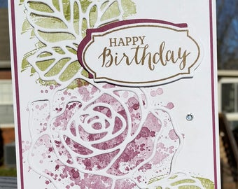 Handmade Get Well, Birthday, Thank You Card Kit, Set Of 4 STAMPIN' UP! Rose Wonder