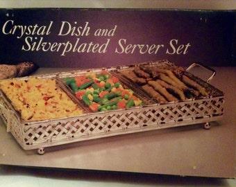 New Vintage Crystal Dish trio & Silverplated Server Set