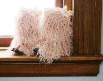 Cassie Boot cuffs .. Pink Pompon.. Pink fur boots, fur boot cuffs, fur boot covers, fur leg warmers, lace boot cuffs, toddler BOHO boot cuff