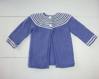 Baby cardigan. Woollen Cardigan. 3 to 6 months. Baby Knit cardigan. Baby girl. Knitted baby sweater. Knitted Baby jacket.Purple baby sweater