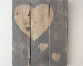 Grey Rustic Wooden Heart Art