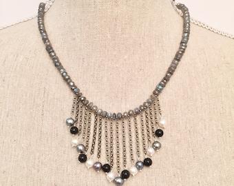 Elektra- Labradorite and Pearl Statement Necklace, One of a Kind Gem Necklace, Statement Necklace, Handmade Semiprecious Necklace