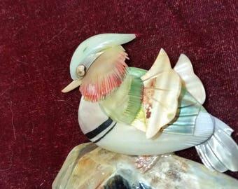 Abalone Shell Wall Art - Vintage Bird Plaque