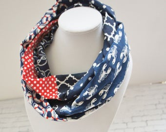 Infinity scarf, Nautical scarf, scarf with anchors, women scarves, Navy scarf, lobster scarf,  Scarf for spring. Scarf for cruise, summer