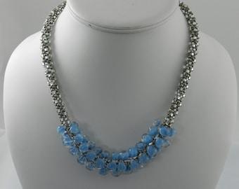 Maya Blue Teardrop Kumihimo Necklace