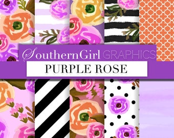 "Purple Watercolor Digital Paper: ""PURPLE ROSE"" with purple, pink, orange, black white watercolor flower designs for scrapbooking, crafts"