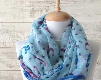 Blue scarf boho scarf floral print scarf cotton scarf spring scarf light summer scarf women accessories white oversized scarf flower print
