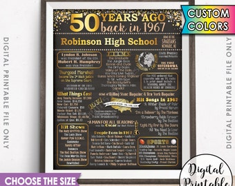 50th Reunion 1967 Poster, Flashback 50 Years Ago Sign, Graduation Class of 1967 Reunion, USA Facts/Info, Chalkboard Style Digital Printable