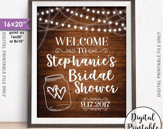 """Bridal Shower Welcome Sign, Personalized Shower Welcome Poster, Wedding Shower Sign, Lights & Jar, 8x10/16x20"""" Rustic Wood Style Printable"""