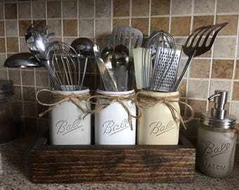Rustic Utensils Holder, Mason Jar Utensils Holder, Kitchen Utensils Holder, Farmhouse Kitchen Decor, Mason Jar Kitchen Sets, Rustic Kitchen