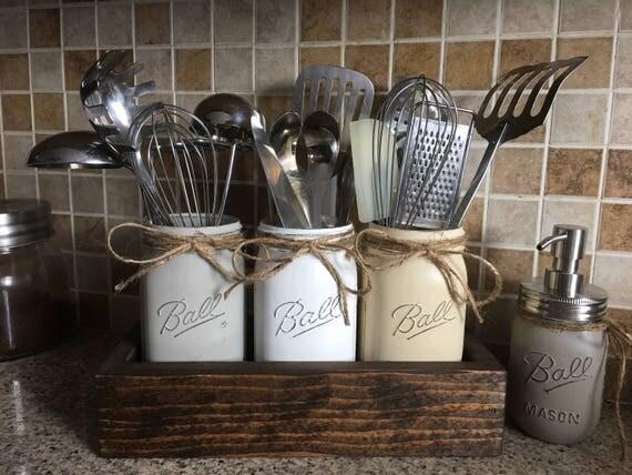 Rustic Utensils Holder Mason Jar Utensils Holder Kitchen