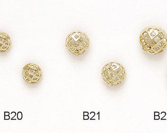 14k Solid Yellow/White Gold Ball Stud Earrings (Available in Multiple Sizes)