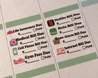 Set of 20 Kawaii Bill Payment Planner Stickers For Your Planner or Calender. Works Great for ECLP and happy planner