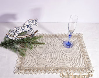 Linen Placemats -  Flax mini quilt - Set of 2 / 4 - linen snack mat - Flax cocktail napkins