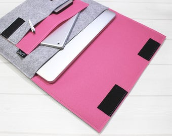 Minimal laptop pouch, pink laptop sleeve, felt laptop sleeve, gray laptop case, Macbook Pro case, simple laptop sleeve, 15 inch laptop case
