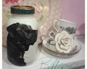 Black Labrador 1 litre Mason jar, gift idea, vase, candle holder, home decor