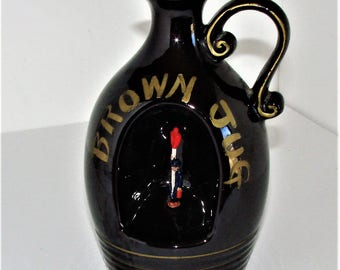 Musical Brown Jug WIth Dancing Man in Front Center Very Cool Novelty Piece