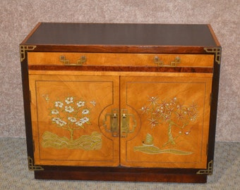 Vintage Oriental Style Hand Painted 2 Door Cabinet w/Drawer