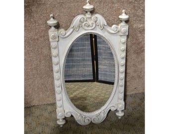 Vintage Tudor Style Distressed Wall Mirror
