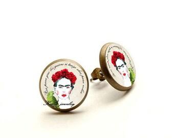 Frida Kahlo Earrings, Frida Kahlo Jewelry, Frida stud, Hypoallergenic Earrings for Sensitive Ears